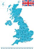 United Kingdom Map and Navigation Icons