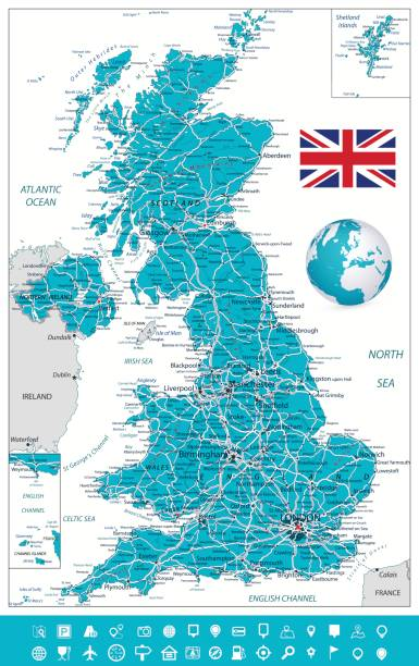 united kingdom map and navigation icons - wales stock illustrations, clip art, cartoons, & icons