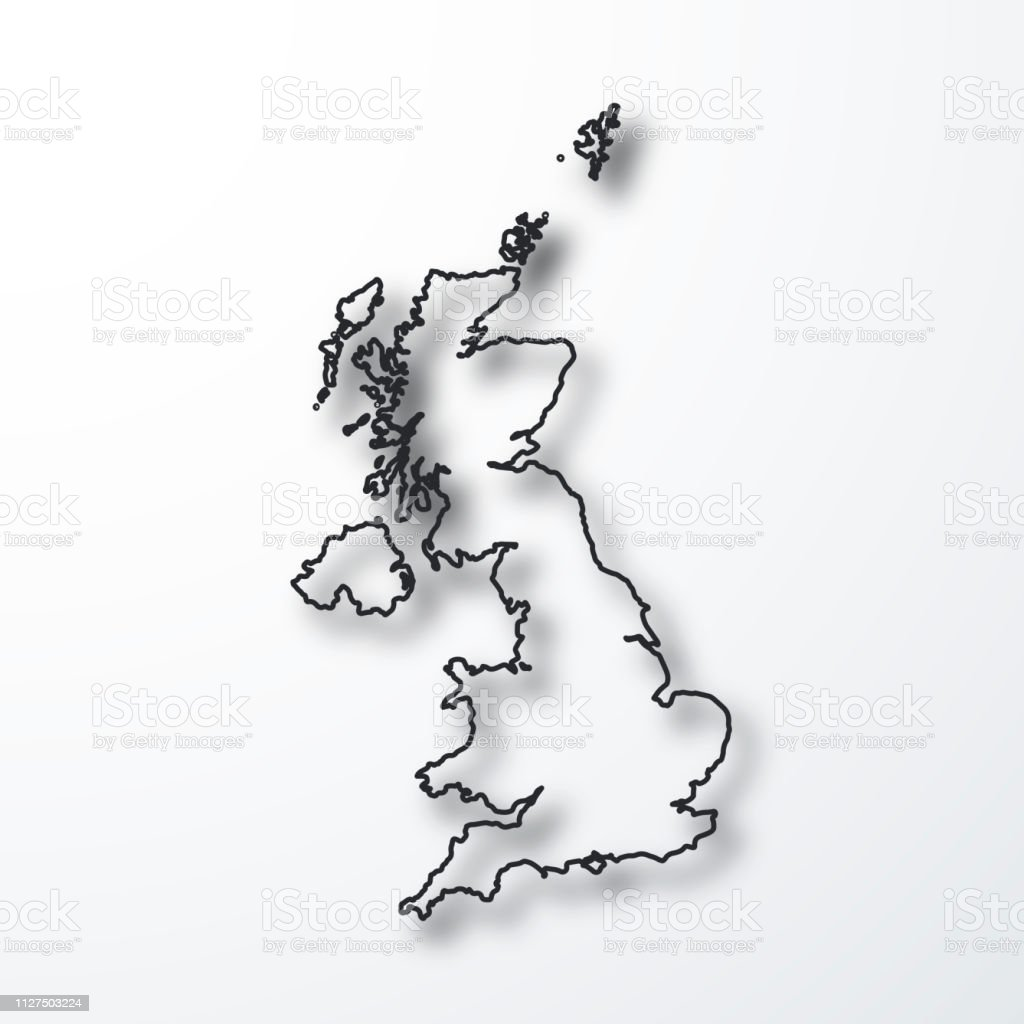 Map Of Uk Black And White.United Kingdom Map Black Outline With Shadow On White Background