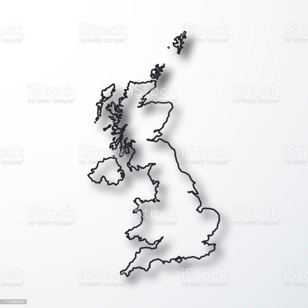 Carte Royaume Uni Noir Et Blanc.Carte Du Royaumeuni Noir Contour Avec Ombre Sur Fond Blanc