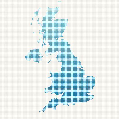 United Kingdom Map Blue Dot Pattern