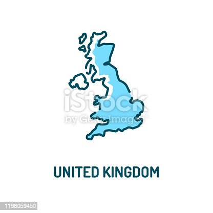United Kingdom map color line icon. Border of the country. Pictogram for web page, mobile app, promo. UI UX GUI design element. Editable stroke