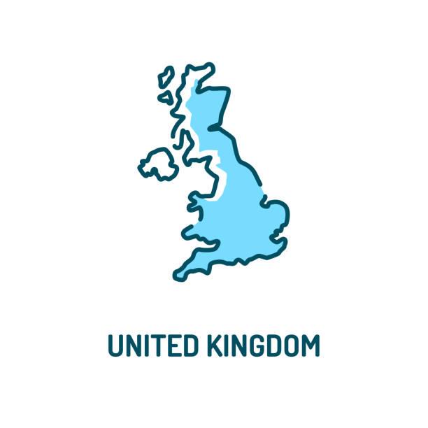 ilustrações de stock, clip art, desenhos animados e ícones de united kingdom map color line icon. border of the country. pictogram for web page, mobile app, promo. ui ux gui design element. editable stroke. - reino unido
