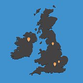 United Kingdom map dark with markers on blue background