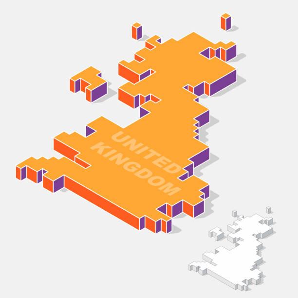 United Kingdom map element with 3D isometric shape vector art illustration
