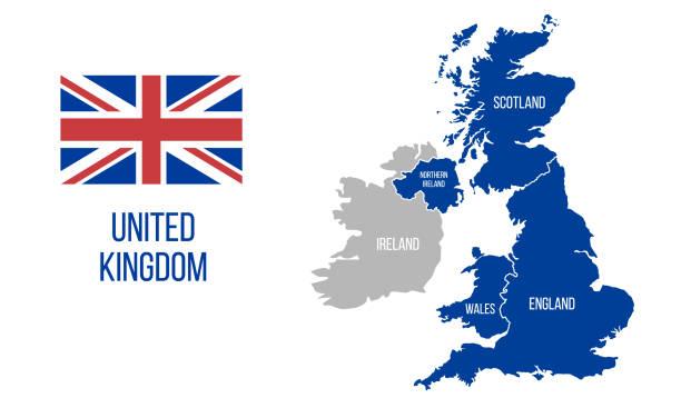 ilustrações, clipart, desenhos animados e ícones de mapa do reino unido. inglaterra, escócia, país de gales, irlanda do norte. bandeira britânica da sagacidade do mapa de grâ bretanha do vetor isolada no fundo branco. - reino unido