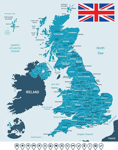 bildbanksillustrationer, clip art samt tecknat material och ikoner med united kingdom map, flag and navigation labels - illustration - storbritannien