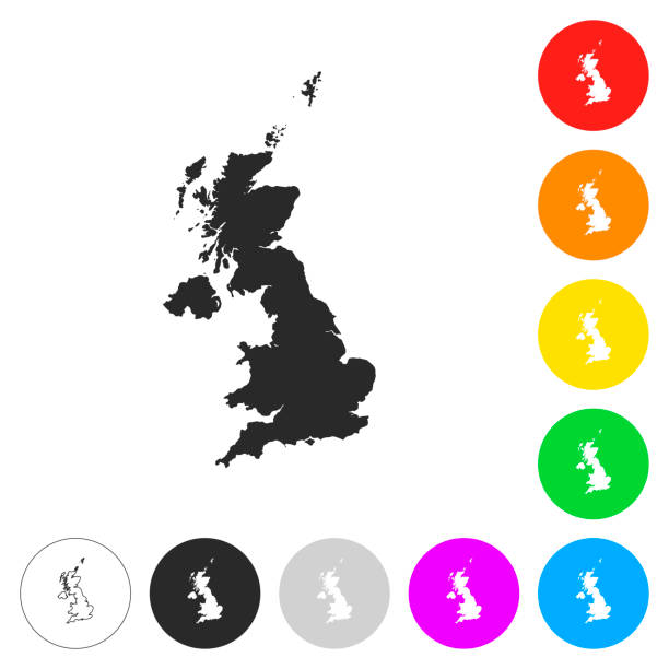 united kingdom map - flat icons on different color buttons - zjednoczone królestwo stock illustrations