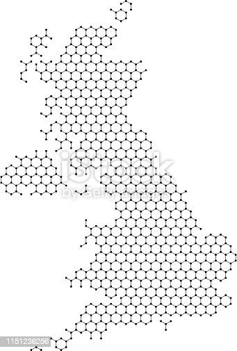 istock United Kingdom map from abstract futuristic hexagonal shapes, lines, points black, in the form of honeycomb or molecular structure. Vector illustration. 1151236256