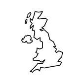 istock United Kingdom map icon isolated on white background. UK outline map. Simple line icon. Vector illustration 1250060641