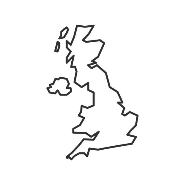 ilustrações, clipart, desenhos animados e ícones de ícone do mapa do reino unido isolado em fundo branco. mapa de contorno do reino unido. ícone de linha simples. ilustração vetorial - reino unido