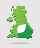 United Kingdom map icon with a leaf