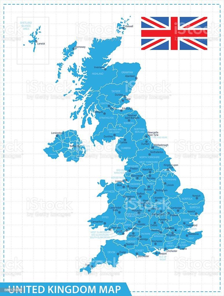 United Kingdom Map - illustration vector art illustration