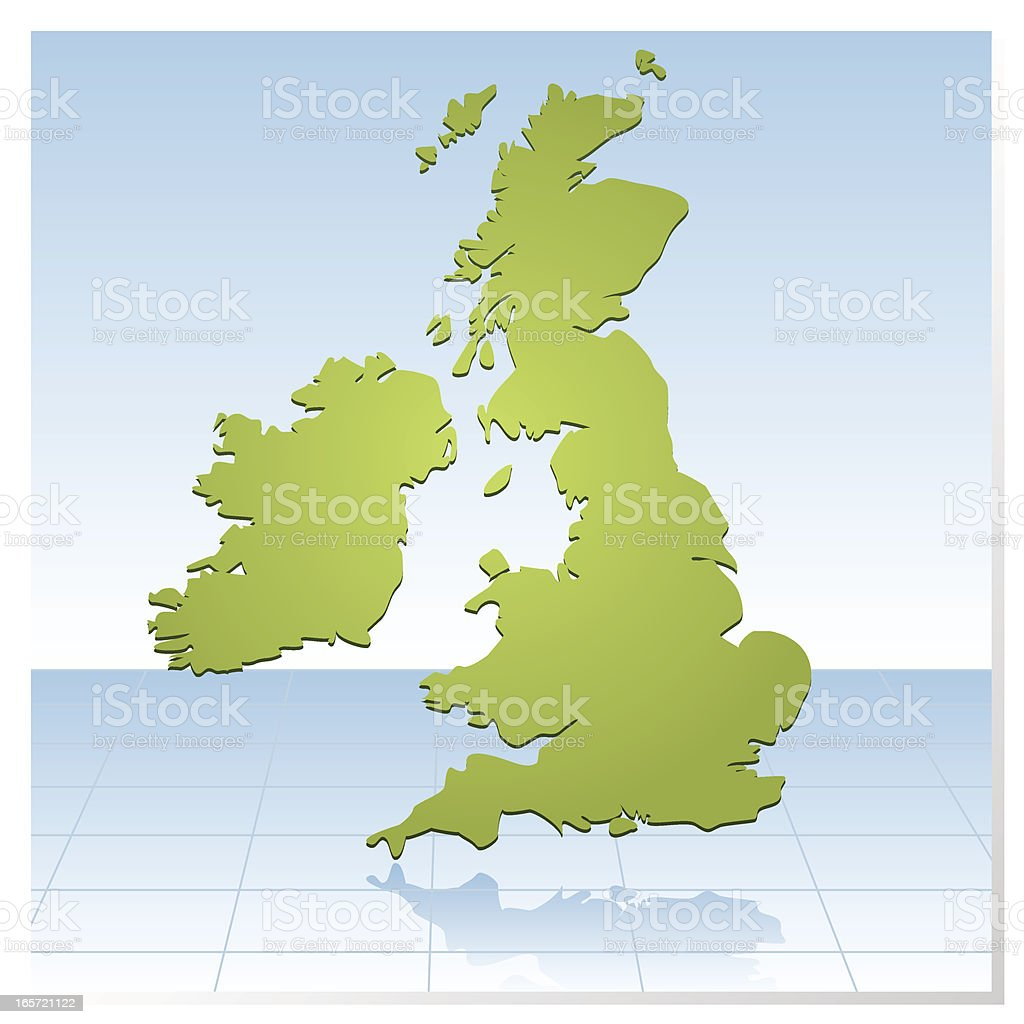 United Kingdom Map in green royalty-free stock vector art