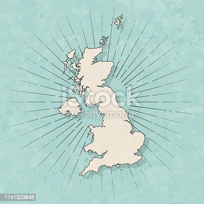 Map of United Kingdom in a trendy vintage style. Beautiful retro illustration with old textured paper and light rays in the background (colors used: blue, green, beige and black for the outline). Vector Illustration (EPS10, well layered and grouped). Easy to edit, manipulate, resize or colorize.