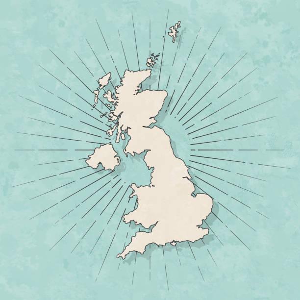 bildbanksillustrationer, clip art samt tecknat material och ikoner med storbritannien karta i retro vintage stil-gamla texturerat papper - storbritannien