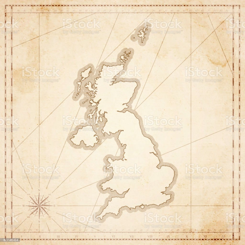 United Kingdom Map In Retro Vintage Style Old Textured Paper