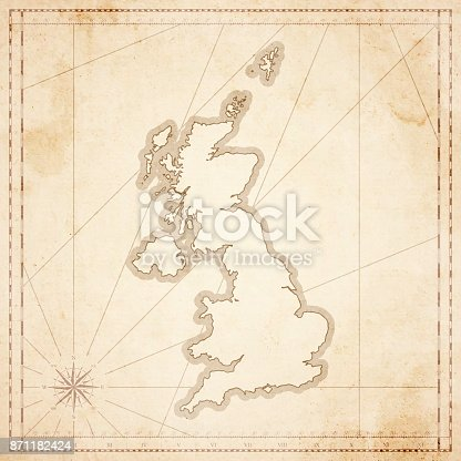 Map of United Kingdom in vintage style. Beautiful illustration of antique map on an old textured paper of sepia color. Old realistic parchment with a compass rose, lines indicating the different directions (North, South, East, West) and a frame used as scale of measurement.Vector Illustration (EPS10, well layered and grouped). Easy to edit, manipulate, resize or colorize. Please do not hesitate to contact me if you have any questions, or need to customise the illustration. http://www.istockphoto.com/portfolio/bgblue