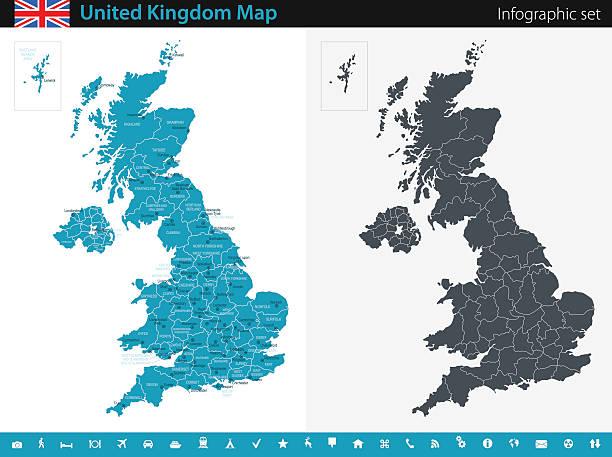 ilustrações, clipart, desenhos animados e ícones de mapa do reino unido - conjunto infográfico - reino unido