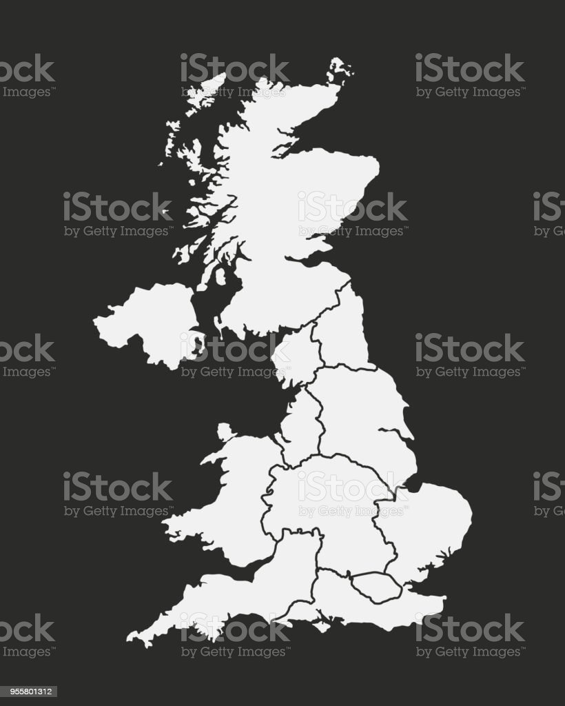 Map Of England Poster.United Kingdom Map Isolated On A Black Background Poster Map Of Uk