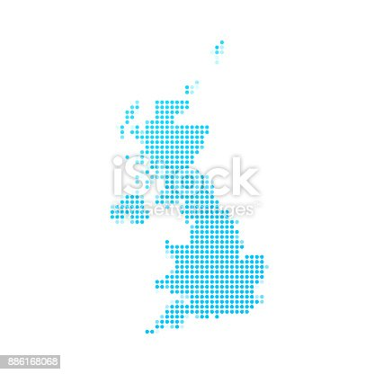 Map of United Kingdom made with round blue dots on a blank background. Original mosaic illustration. Vector Illustration (EPS10, well layered and grouped). Easy to edit, manipulate, resize or colorize. Please do not hesitate to contact me if you have any questions, or need to customise the illustration. http://www.istockphoto.com/portfolio/bgblue