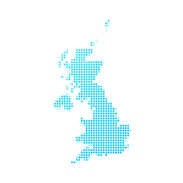 united kingdom map of blue dots on white background - zjednoczone królestwo stock illustrations