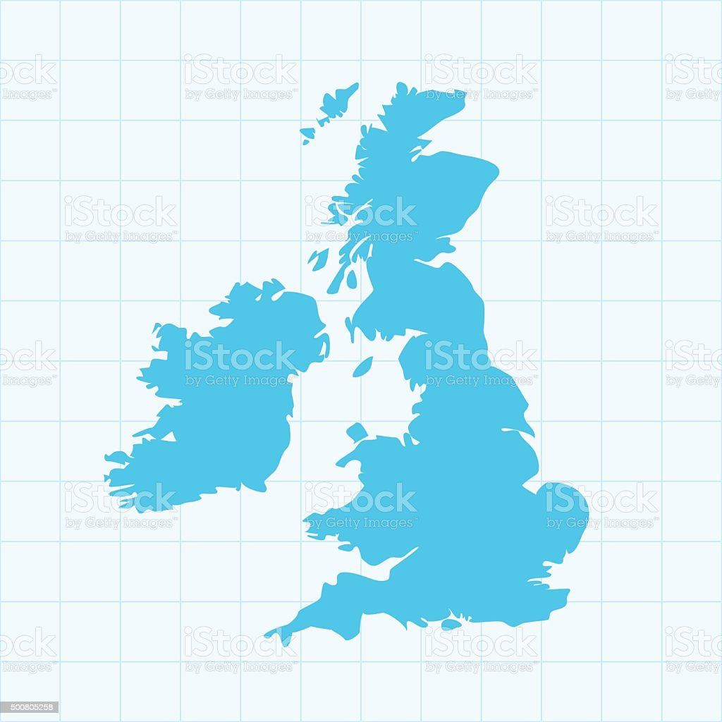 United Kingdom map on grid on blue background vector art illustration