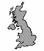 United Kingdom map outline graphic freehand drawing on white background. Vector illustration.