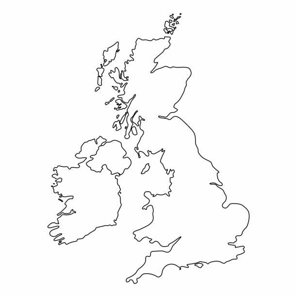 ilustrações, clipart, desenhos animados e ícones de reino unido mapa contorno gráfico desenho à mão livre sobre fundo branco. ilustração em vetor. - reino unido