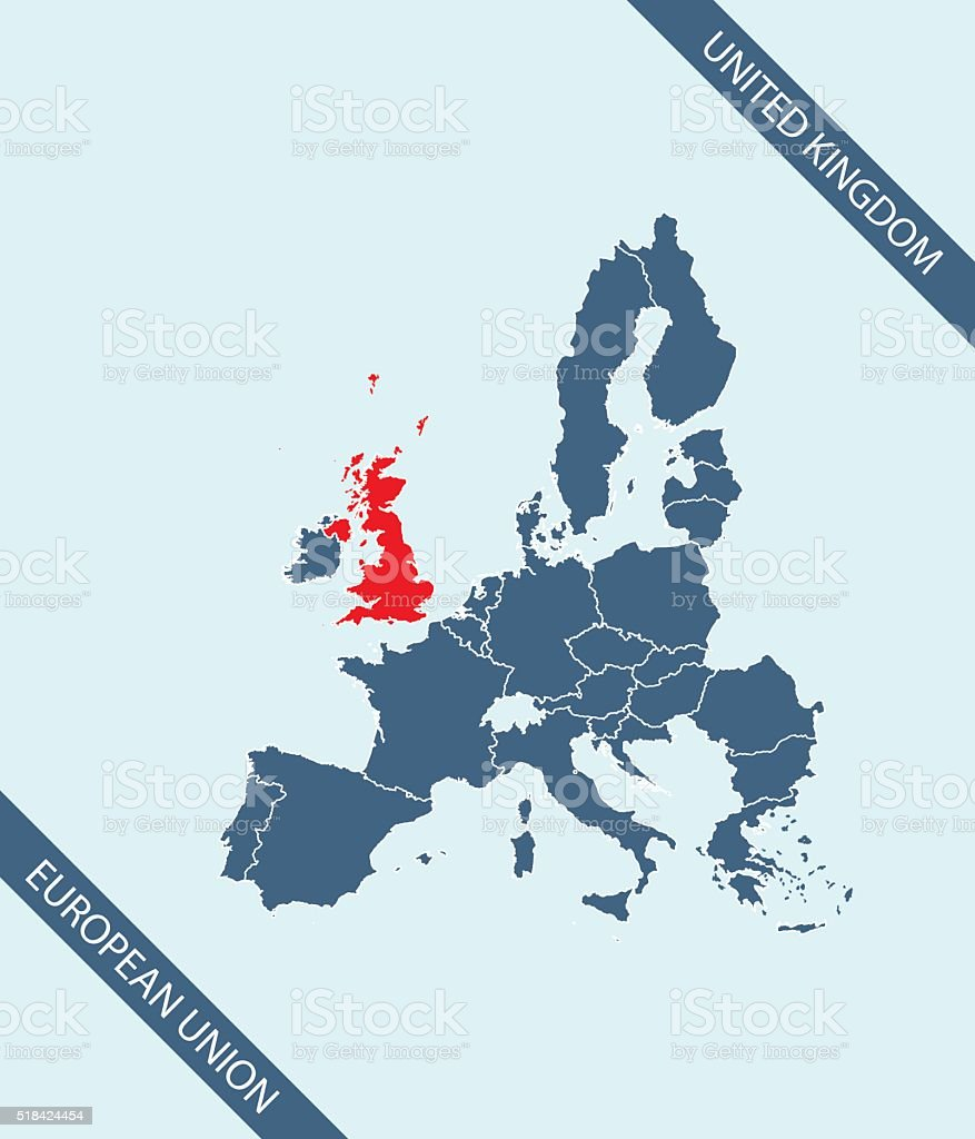 United Kingdom map outline vector highlighted in European Union vector art illustration