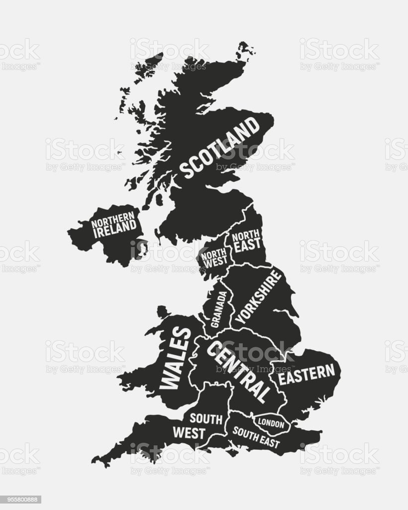 Map Of Uk With Regions.United Kingdom Map Poster Map Of Uk With Country And Regions Names