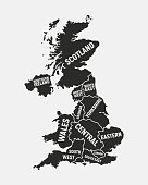 United Kingdom map. Poster map of UK with country and regions names. United Kingdom background. Vector illustration