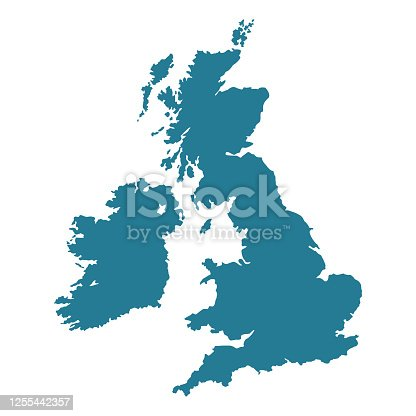 istock United Kingdom map shape. 1255442357