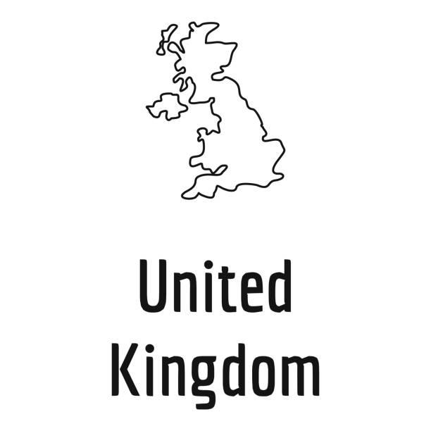 ilustrações, clipart, desenhos animados e ícones de reino unido vetor de linha fina de mapa simples - reino unido