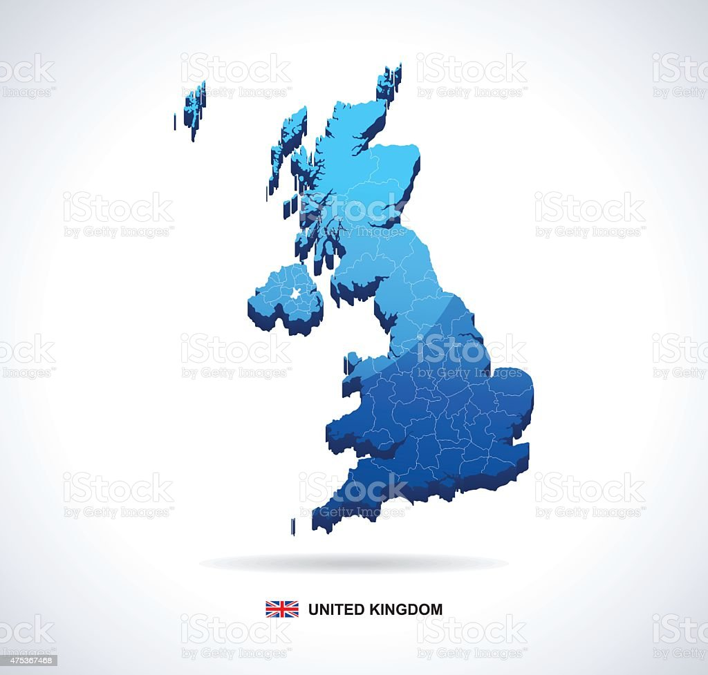 United Kingdom map - three-dimensional vector illustration vector art illustration