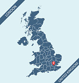 Map of Great Britain (UK) with its capital location, London, for web page, application, and educational purposes. The map is accurately prepared by a map expert.