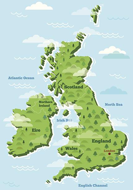 bildbanksillustrationer, clip art samt tecknat material och ikoner med united kingdom map - storbritannien