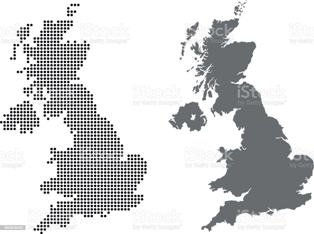 united kingdom map vector art illustration