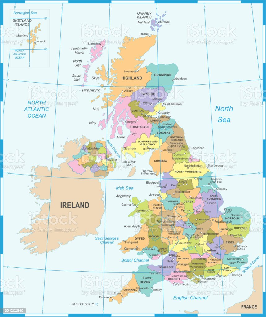 United Kingdom Map - Vector Illustration royalty-free united kingdom map vector illustration stock vector art & more images of capital cities