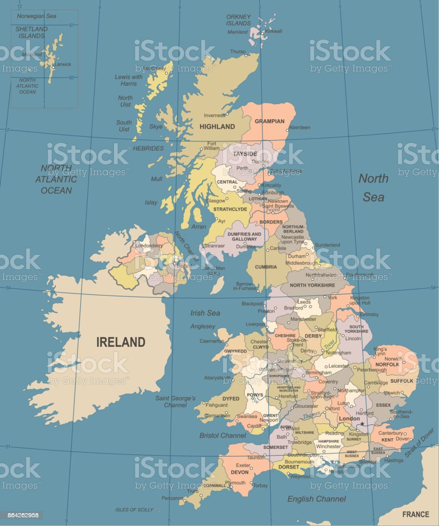 United Kingdom Map - Vintage Vector Illustration royalty-free united kingdom map vintage vector illustration stock vector art & more images of blue