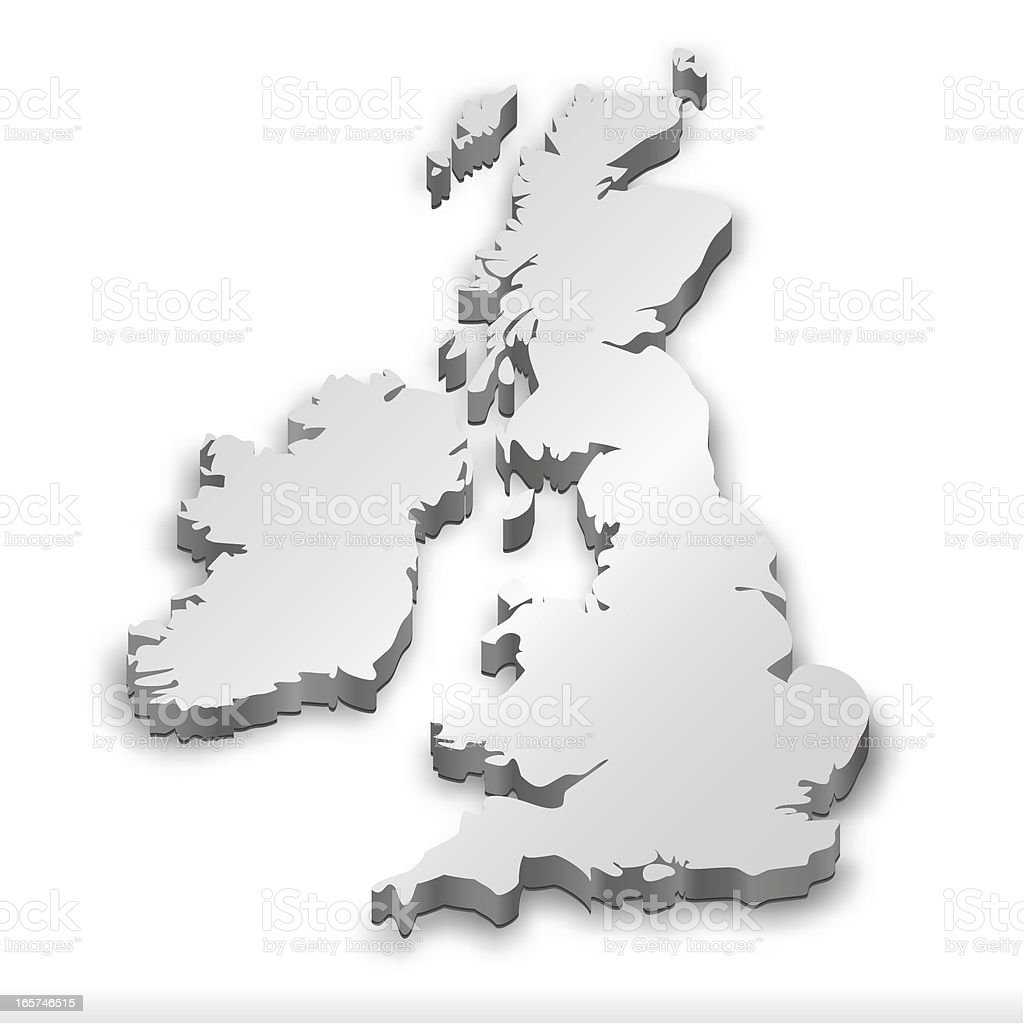 United Kingdom map white vector art illustration