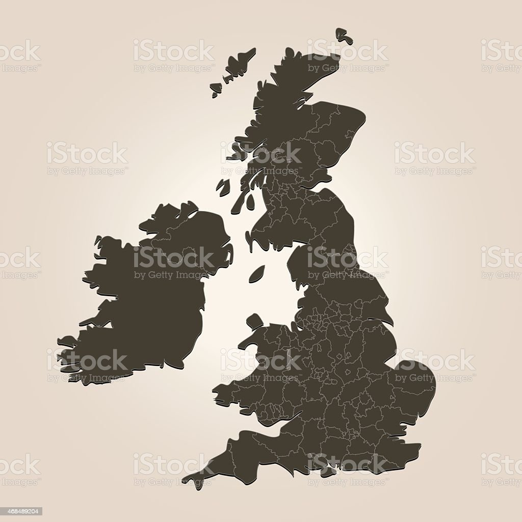 Map Of Uk With Countries.United Kingdom Map With Countries On Brown Background Stock