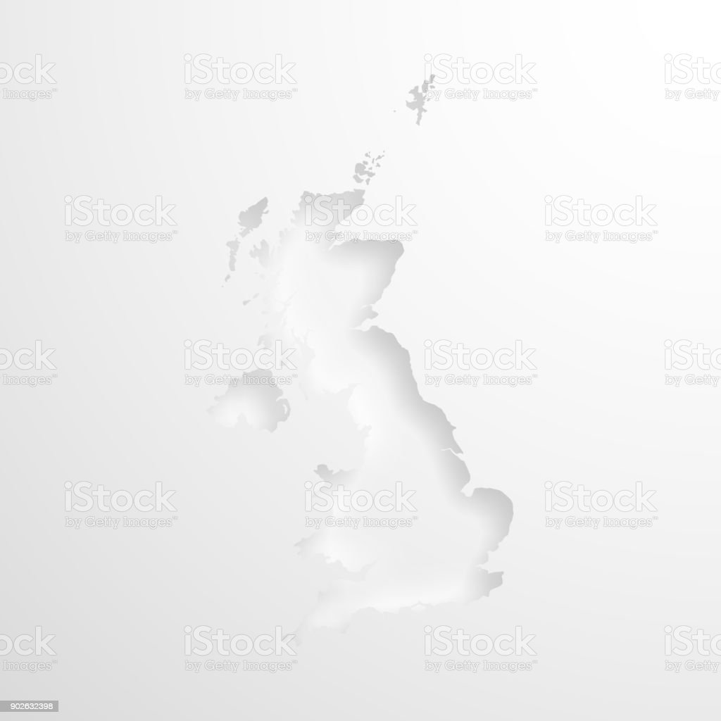 United Kingdom map with embossed paper effect on blank background vector art illustration