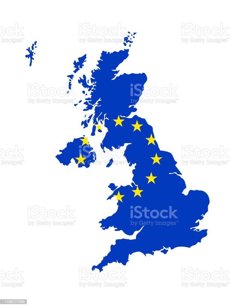 ヨーロッパ連合の旗とイギリスの地図 - イギリスのベクターアート素材 ...