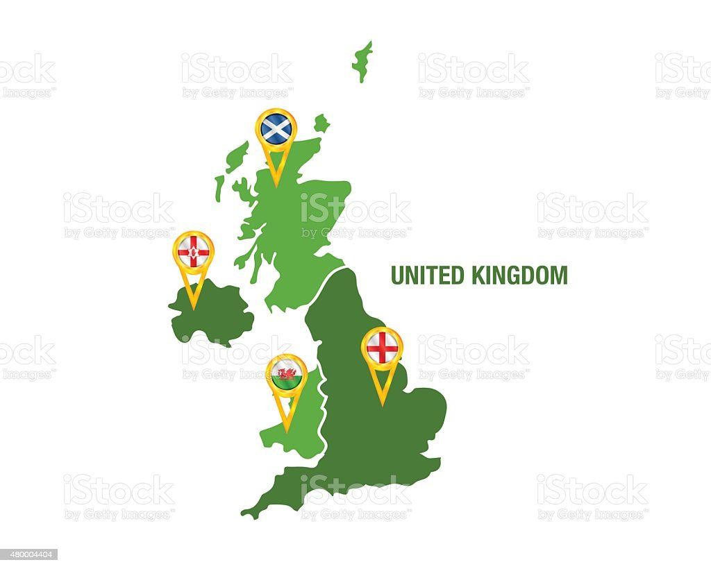 United Kingdom map with flags vector art illustration