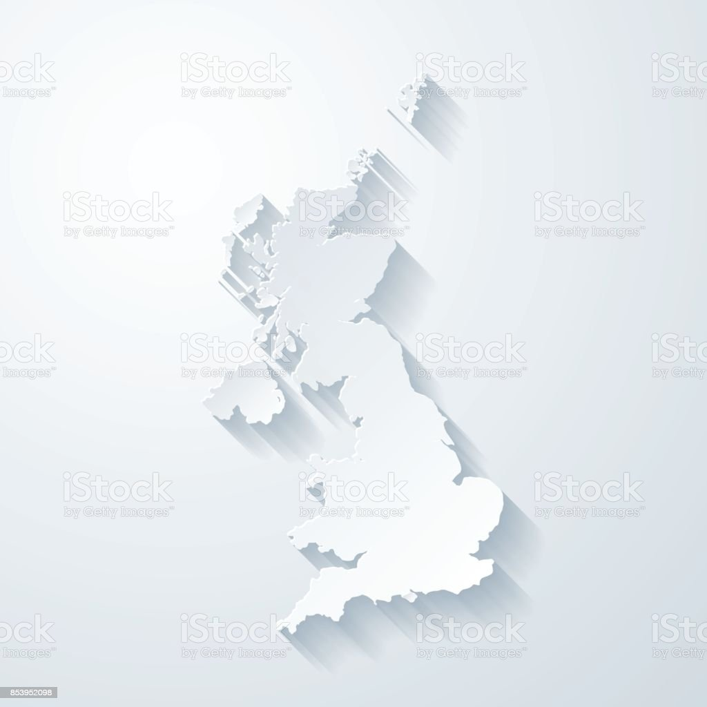 United Kingdom map with paper cut effect on blank background vector art illustration