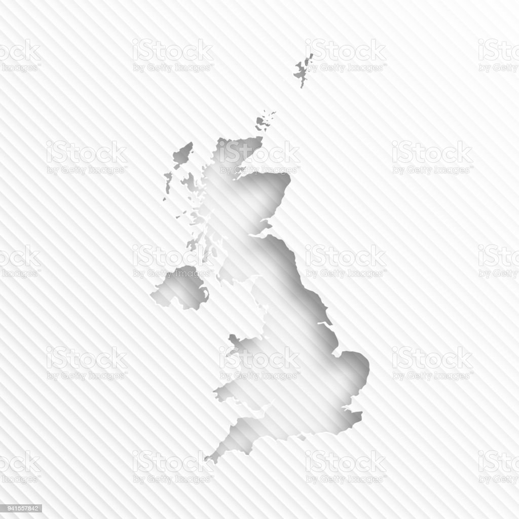 United Kingdom map with paper cut on abstract white background vector art illustration