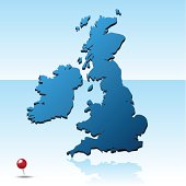 United Kingdom Map with pin