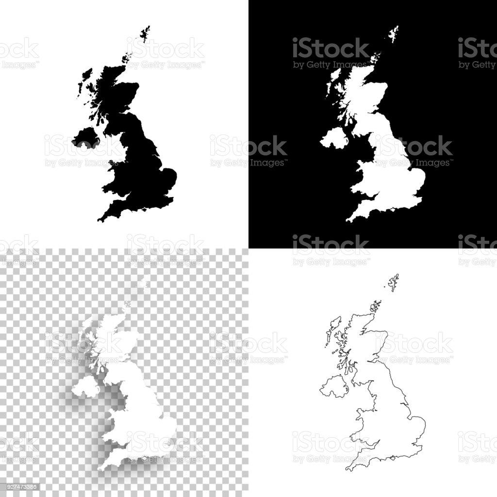 Carte Royaume Uni Noir Et Blanc.Cartes Du Royaumeuni Pour La Conception Blank Fond Blanc Et