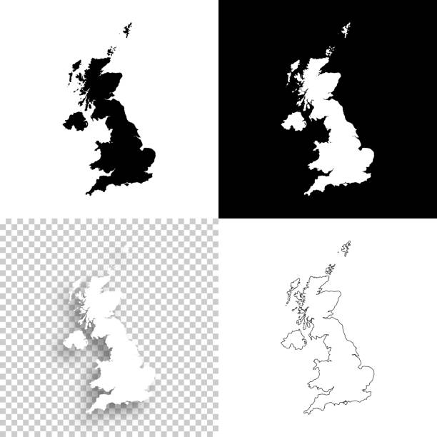 united kingdom maps for design - blank, white and black backgrounds - zjednoczone królestwo stock illustrations
